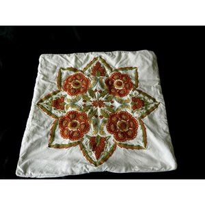 Pottery Barn Embroidered Floral 20 x 20 Pillow Pr